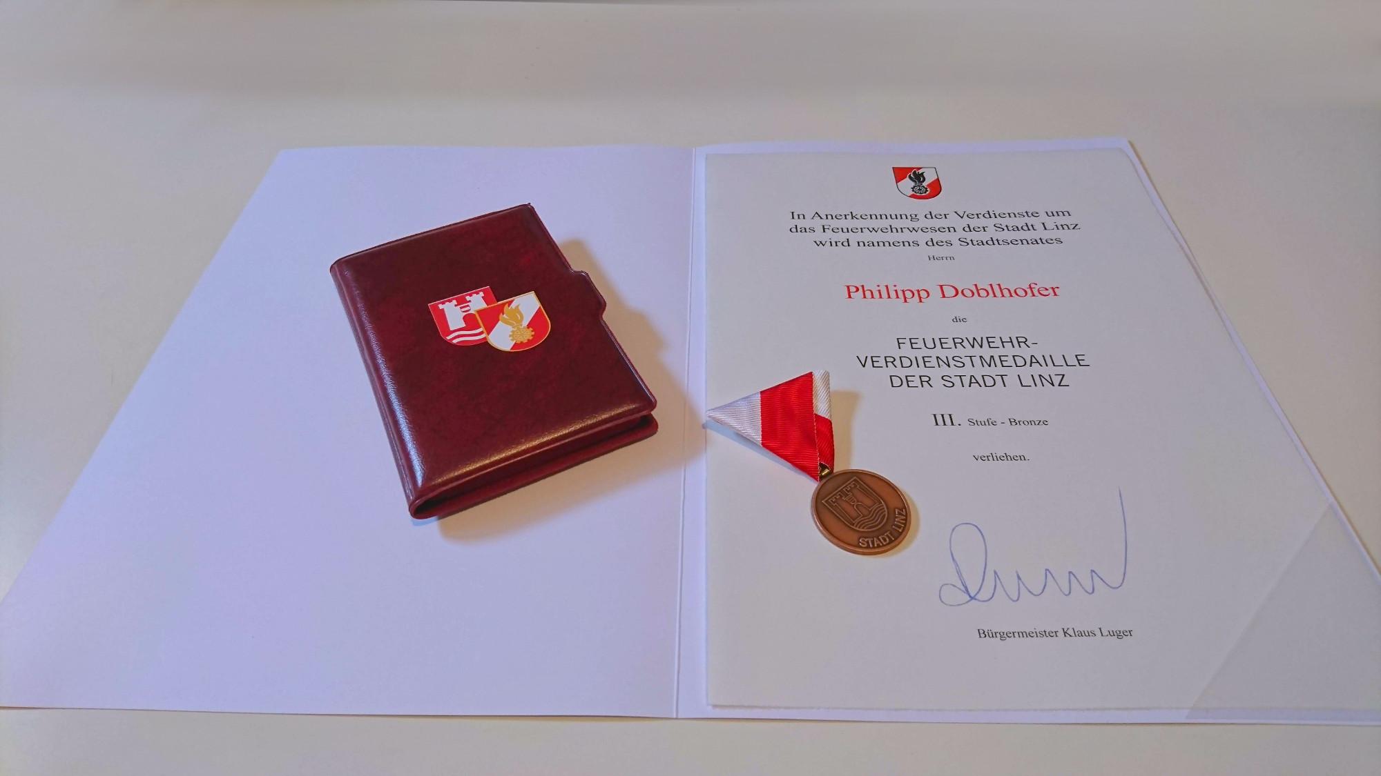 Feuerwehrverdienstmedaille der Stadt Linz – 3. Stufe Bronze